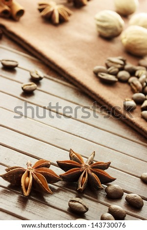 Collection of spices - star anise, coffee beans, nutmeg and cinnamon sticks - stock photo