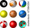 Collection of Sport and game balls illustration - snooker, pool, beachball, tennis, basket, cricket, play, bowling balls. - stock