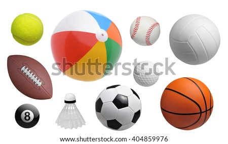 Collection of sport balls isolated on white background - stock photo