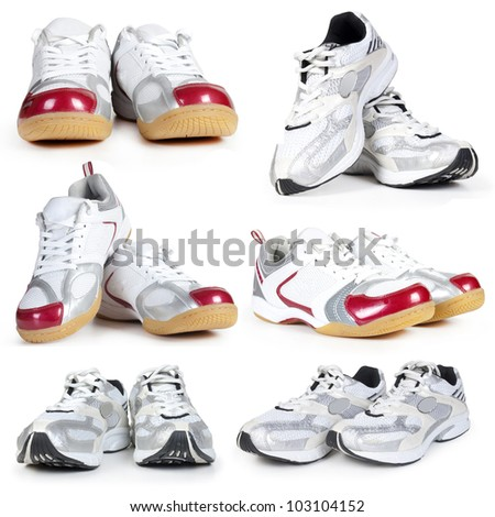 collection of sport shoes - stock photo