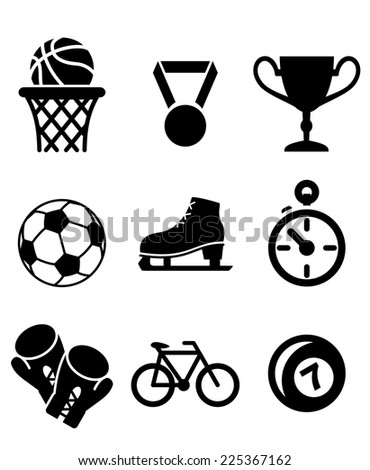 Collection of sports icons including basketball, soccer , football, ice skating, boxing gloves, cycling and bowls with a winners medal, trophy and stopwatch in black and white - stock photo