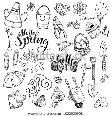Collection Of Spring Hand Lettering And Doodles Garden Tools With Emotions