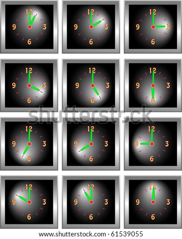 Collection of square chrome clocks showing each hour of the day illustration - stock photo
