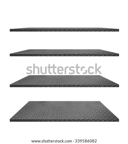 collection of steel diamond plate shelves on an isolated white background, Objects with Clipping Paths for design work - stock photo