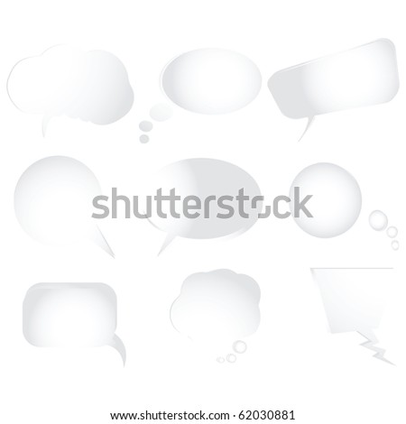 Collection of stylized text bubbles, isolated objects on white background, abstract art illustration; for vector format please visit my gallery - stock photo
