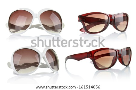 collection of sun glasses isolated on a white background - stock photo