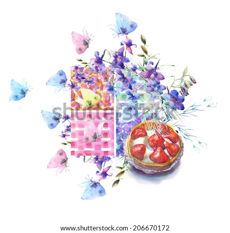 Collection of sweet desserts .Fresh Fruits tart. Strawberries , summer blue flowers and butterfly.. Watercolor illustration. - stock photo