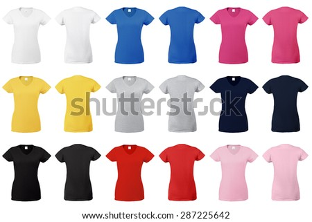 Collection of t-shirts for women in different colors, v-neck and short sleeves. Front and rear view. - stock photo