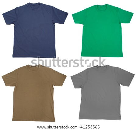 collection of  t shirts on white background - stock photo