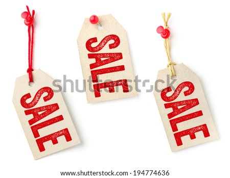 Collection of tags with the text Sale - stock photo
