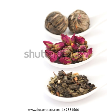 Collection of tea isolated on white background