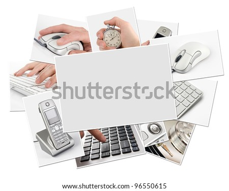 collection of technology photos with blank frame. Clipping path - stock photo