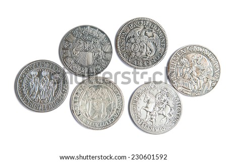 Collection of the medieval swiss coins on the white background - stock photo
