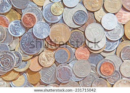 Collection of the old circulated american coins - stock photo
