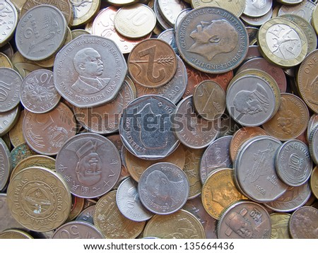 Collection of the old coins - stock photo