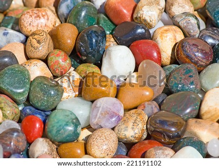 Collection of the semi precious stones - stock photo