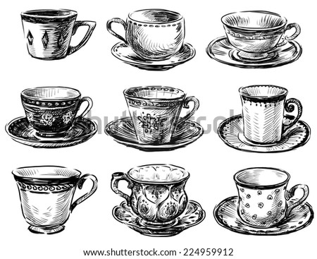 collection of the teacups - stock photo