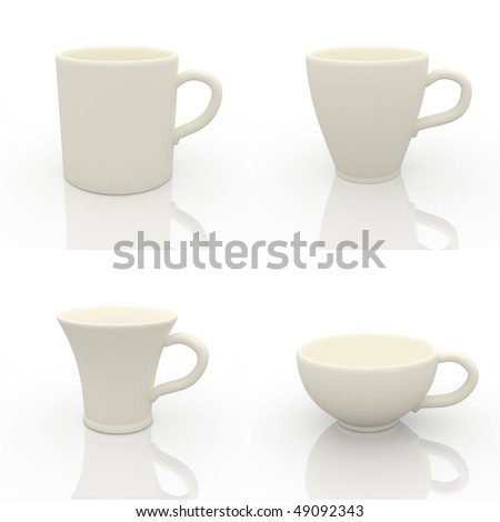Collection of the White cups design template. - stock photo