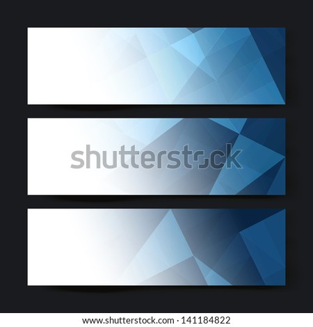 Collection of three horizontal banner designs, abstract blue triangles. Raster version, vector file available in my portfolio. - stock photo