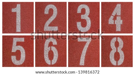 Collection of 1 to 8 ,Numbers on red running track - stock photo