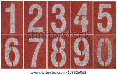 Collection of 0 to 9 ,Numbers on red running track - stock photo