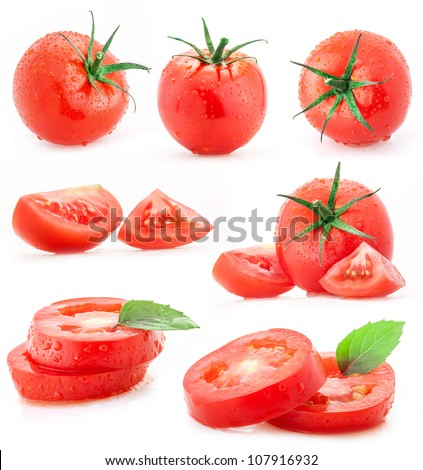 Collection of tomatoes and sliced with water drops, isolated on white background - stock photo