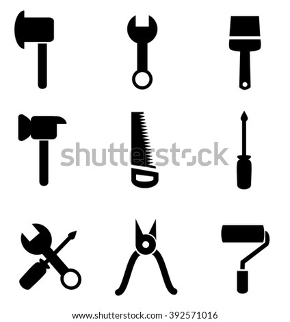 Collection of tool icons isolated on white background.