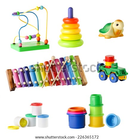 collection of toys for young children isolated on white background - stock photo
