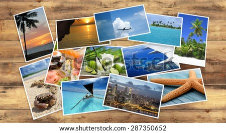 collection of tropical images on wooden table - stock photo