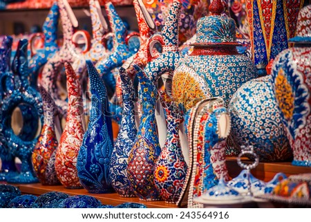 Collection of turkish ceramics on sale at the Grand Bazaar in Istanbul, Turkey. - stock photo