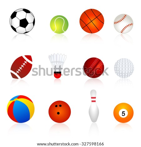 Collection of twelve different sport balls isolated on white background.