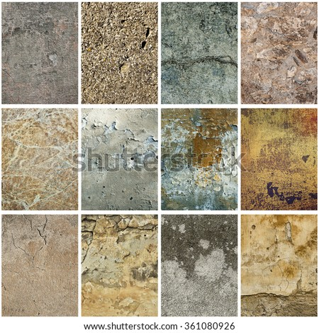 Collection of twelve vertical  images with vintage grunge texture of old weathered dirty wall - stock photo
