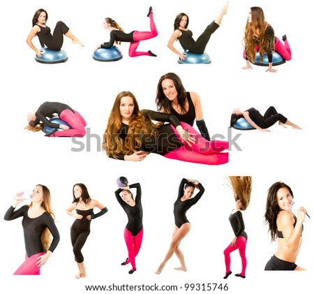 collection of  two fitness women make stretch on yoga and pilates pose on isolated white background - stock photo