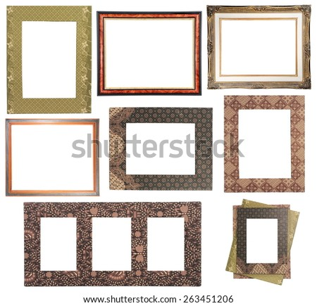 collection of various batik motifs frame isolated on white background - stock photo