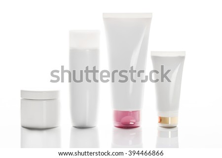 collection of various beauty hygiene containers on white background. - stock photo