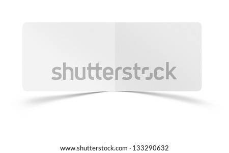 collection of various blank folded leaflet white paper on white - stock photo