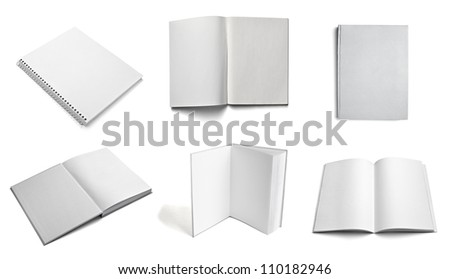 collection of various  blank white paper on white background - stock photo