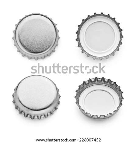 collection of  various bottle caps on white background. each one is shot separately