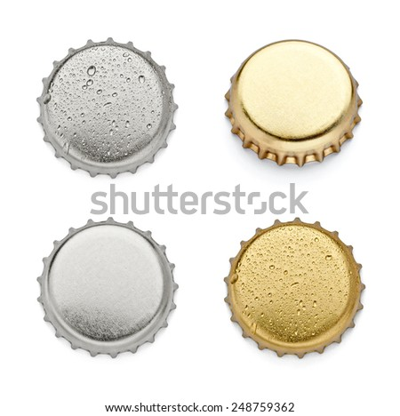 collection of  various bottle caps on white background. each one is shot separately - stock photo
