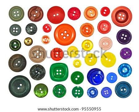 collection of various buttons on white background - stock photo
