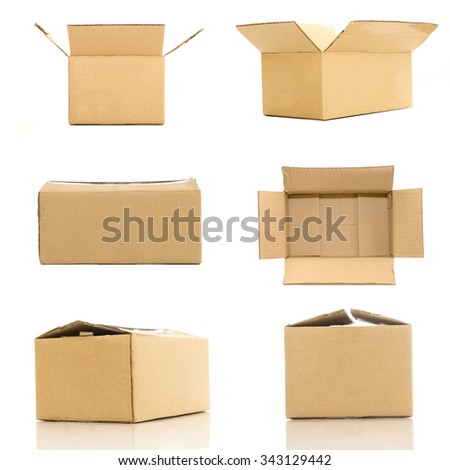 collection of various cardboard boxes on white background.
