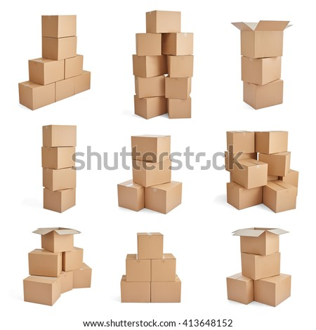 collection of  various cardboard boxes on white background - stock photo