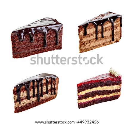 collection of various chocolate cake on white background. each one is shot separately - stock photo