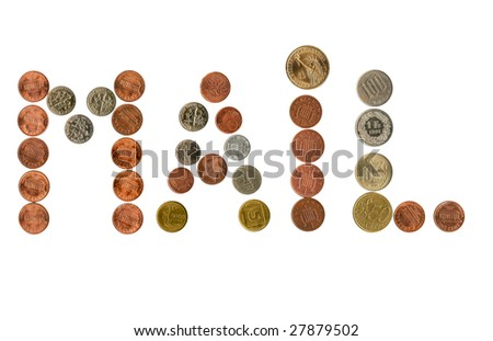 Collection of various coins inside different money related exclamations. - stock photo