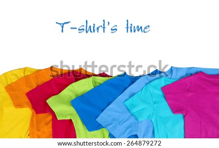 collection of various colorful t-shirts on white background - stock photo