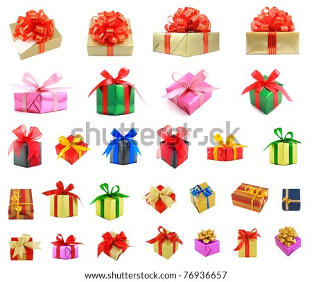 Collection of various gift wrapped presents, isolated on white background