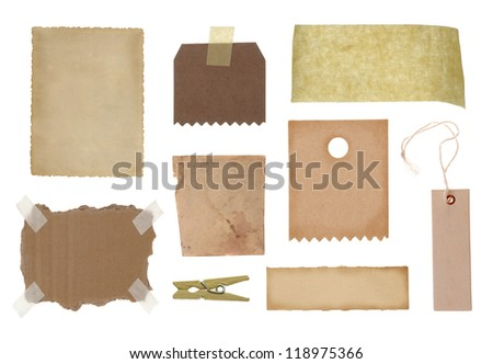 Collection of various grunge paper pieces and tag on white background - stock photo