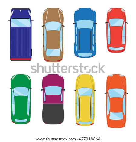 Collection of various isolated cars icons. Car top view illustration. Graphic illustration - stock photo
