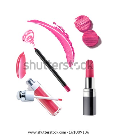 Collection of various lipstick on white background - stock photo