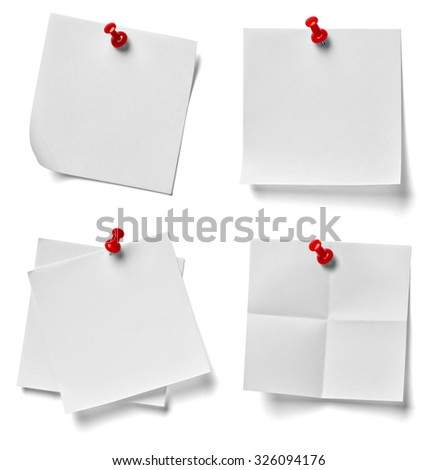 collection of various note paper with a red push pin on white background. each one is shot separately - stock photo